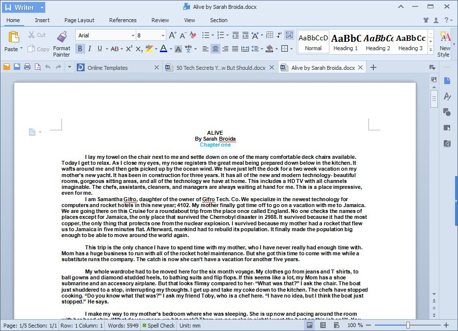 Microsoft Office, I presume? No, it's Kingsoft Office Free 2013, which does a darn good impression -- and has tabs!