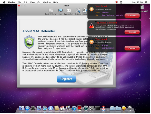 A shot of the MacDefender software, which Apple will soon remove automatically.