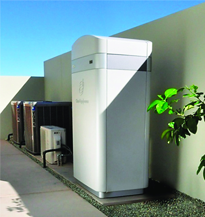 ClearEdge Power's fuel cell deliver 5 kilowatts of electric power and the equivalent of 5.8 kilowatts of heat.