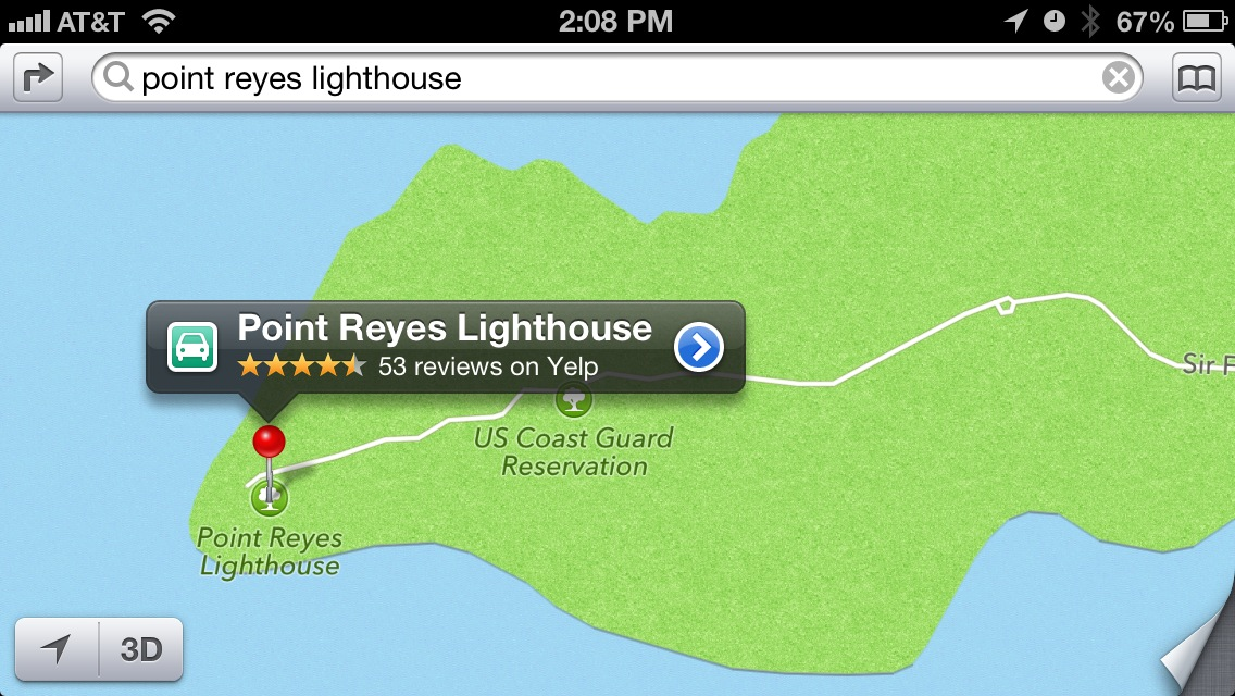 A search for the Point Reyes Lighthouse in Northern California, today.