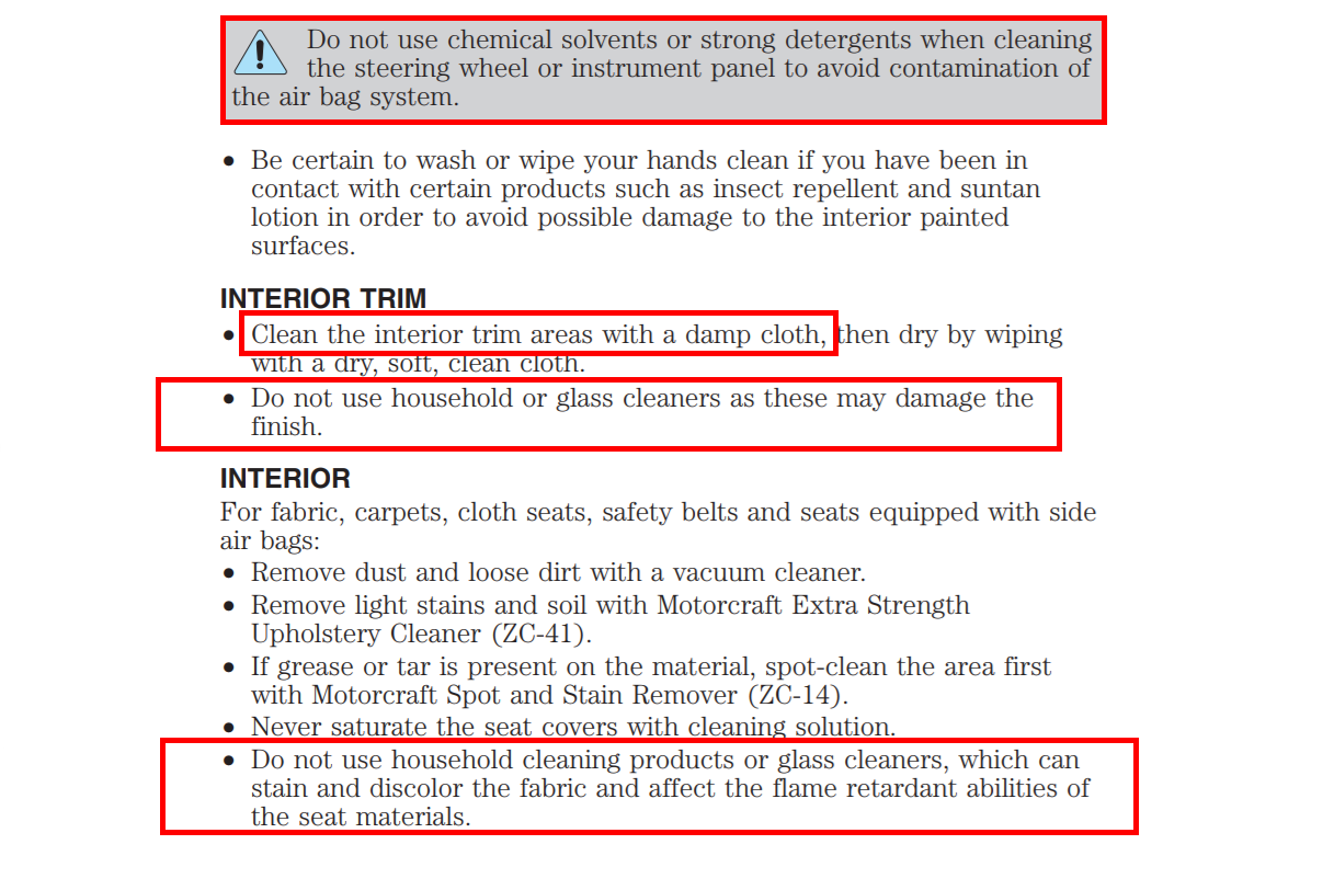 Ford owners manual cleaning page