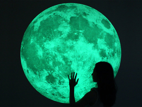 Full moon glow-in-the-dark decal