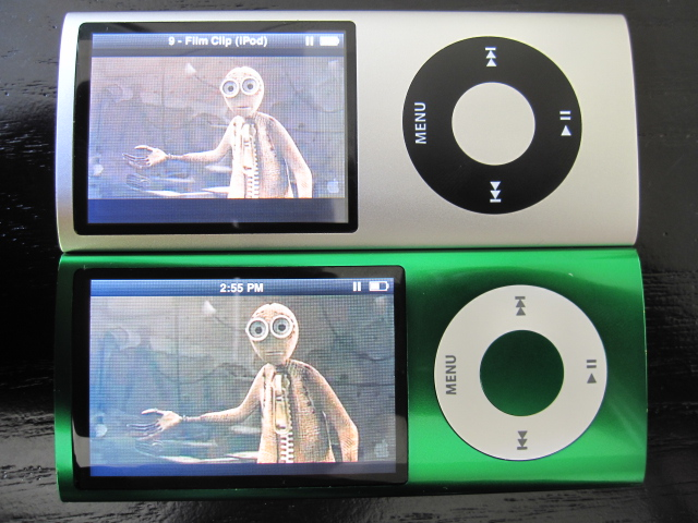 Photo of 4th-generation and 5th-generation iPod Nanos sitting next to each other.