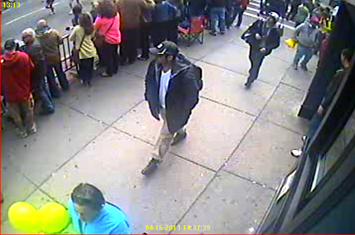 One of the images of the suspects captured by still cameras and surveillance cameras along the marathon route. The FBI released a set of such pictures today.