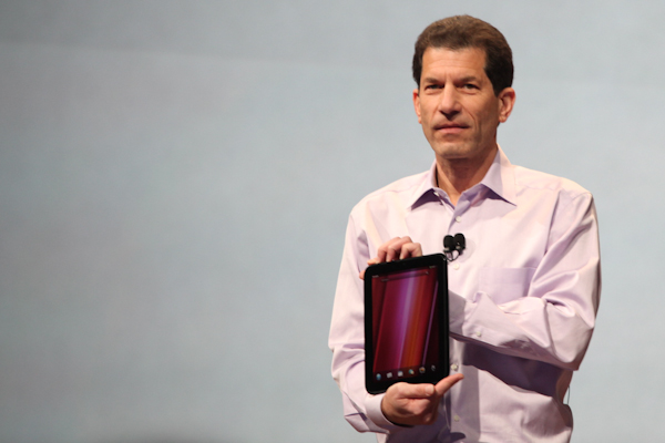 Jon Rubinstein, HP's Senior Vice President and GM holds the company's first WebOS tablet, the TouchPad.