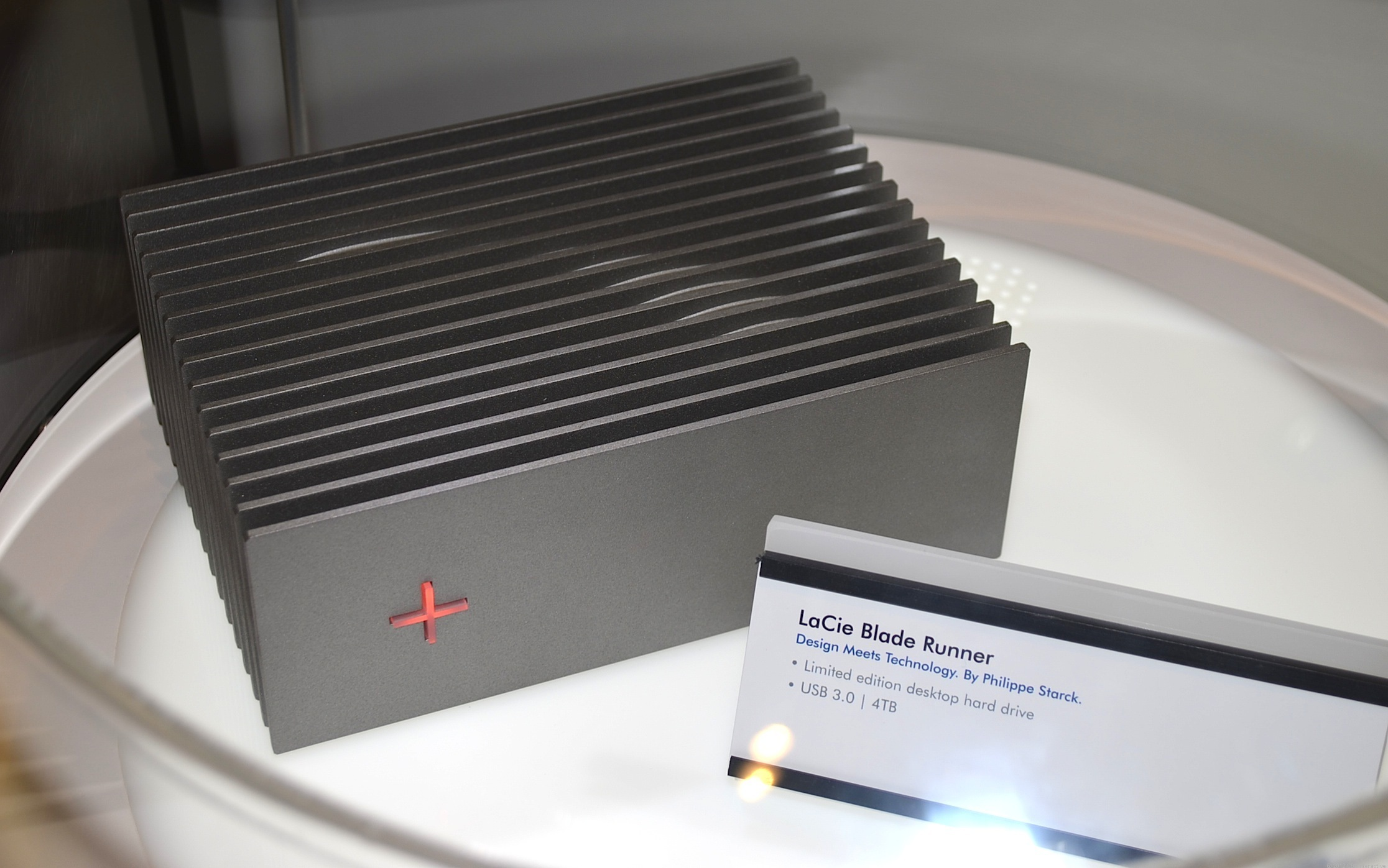 The LaCie Blade Runner external hard drive being shown at CES 2013.