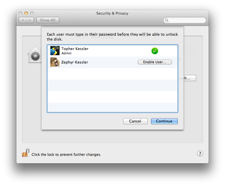 FileVault Account preferences
