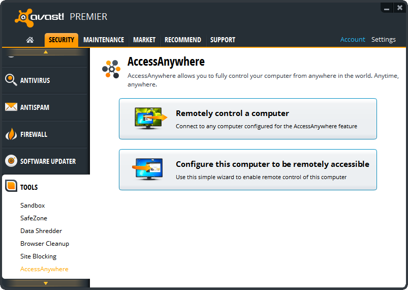 Remote access in Avast?