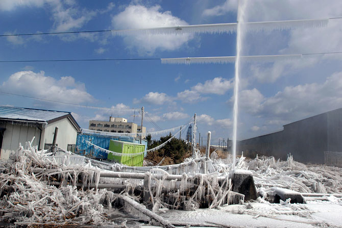 A damaged water pipe along the northeastern coast of Japan