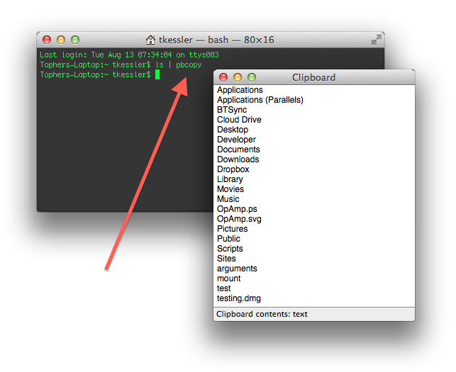 Piping command output to the clipboard in OS X