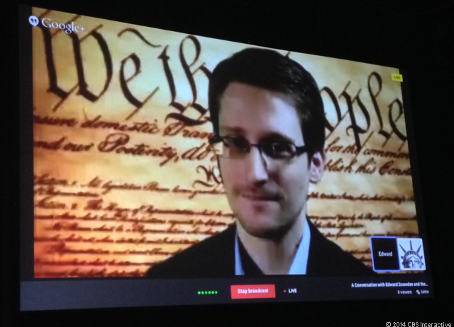 Edward Snowden appeared by teleconference at SXSW Monday.