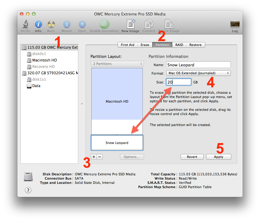 Partitioning with Disk Utility
