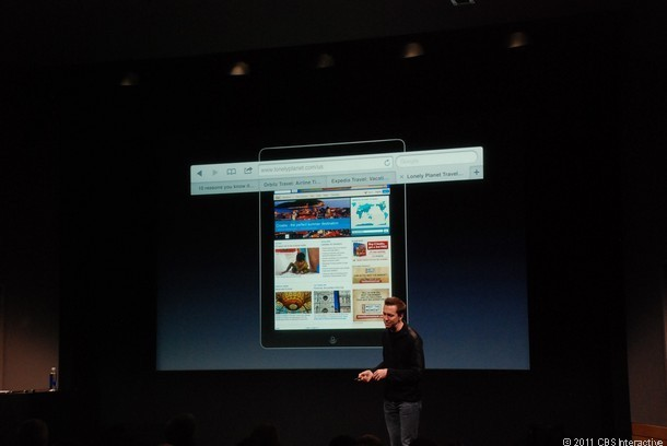 Forstall shows off tabbed browsing on the iPad.
