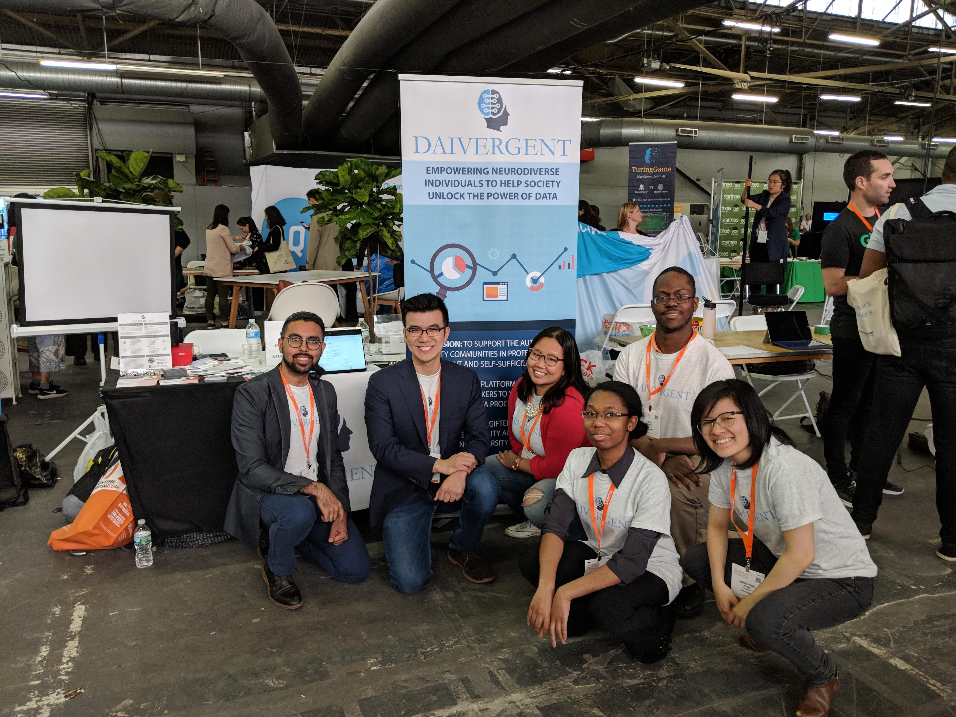 Daivergent co-founders Rahul Mahida and Byran Dai, with others