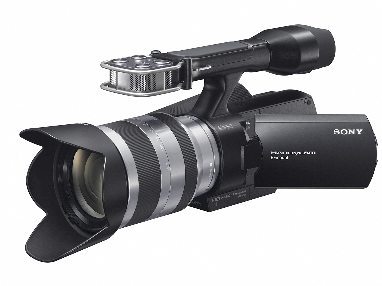 Sony Handycam NEX-VG10, shown here with the 18-200mm kit lens.