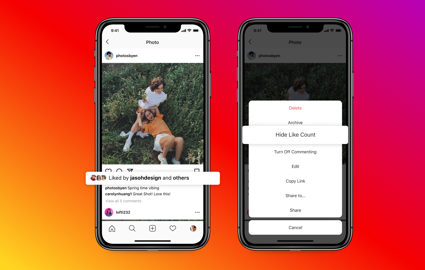 Screenshot of Instagram command to hide like counts
