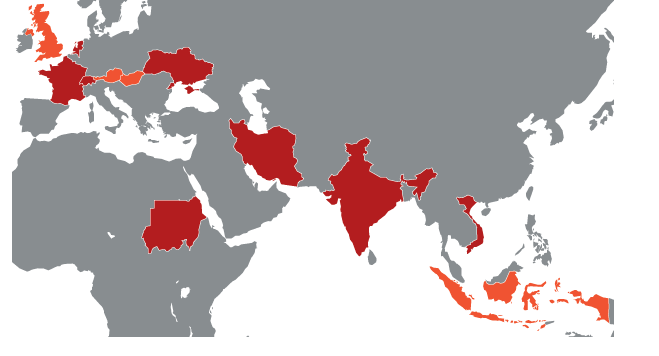 Countries with reported Duqu infections. Red represents confirmed infections, orange represents unconfirmed reports.