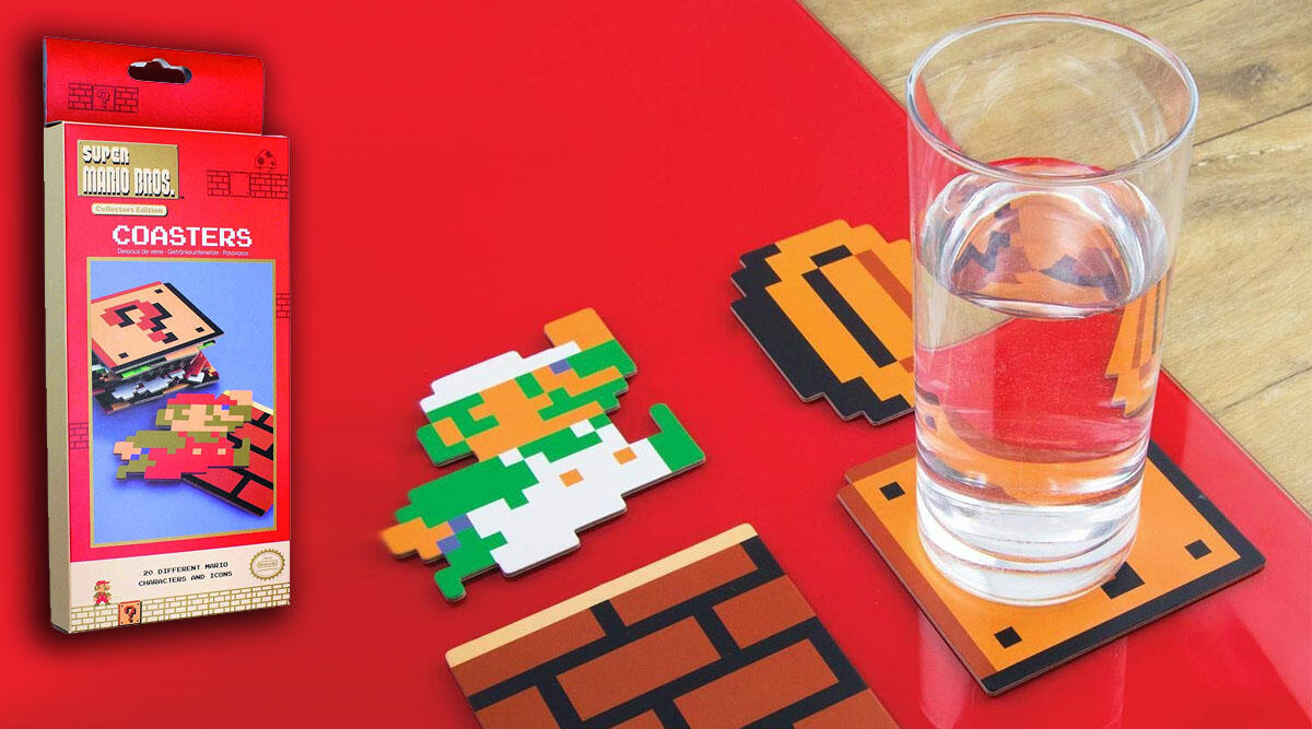 A collection of 8-bit Super Mario Bros. coasters