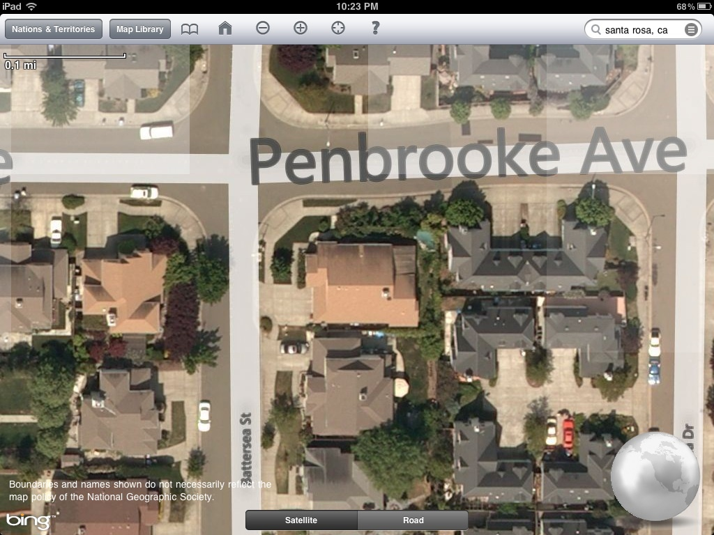 National Geographic World Atlas HD satellite view of a single residence