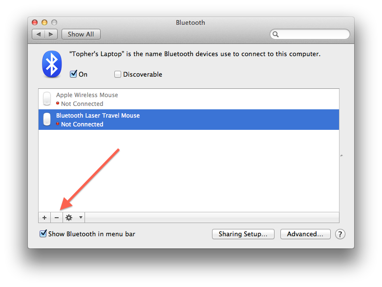 Bluetooth system preferences in OS X