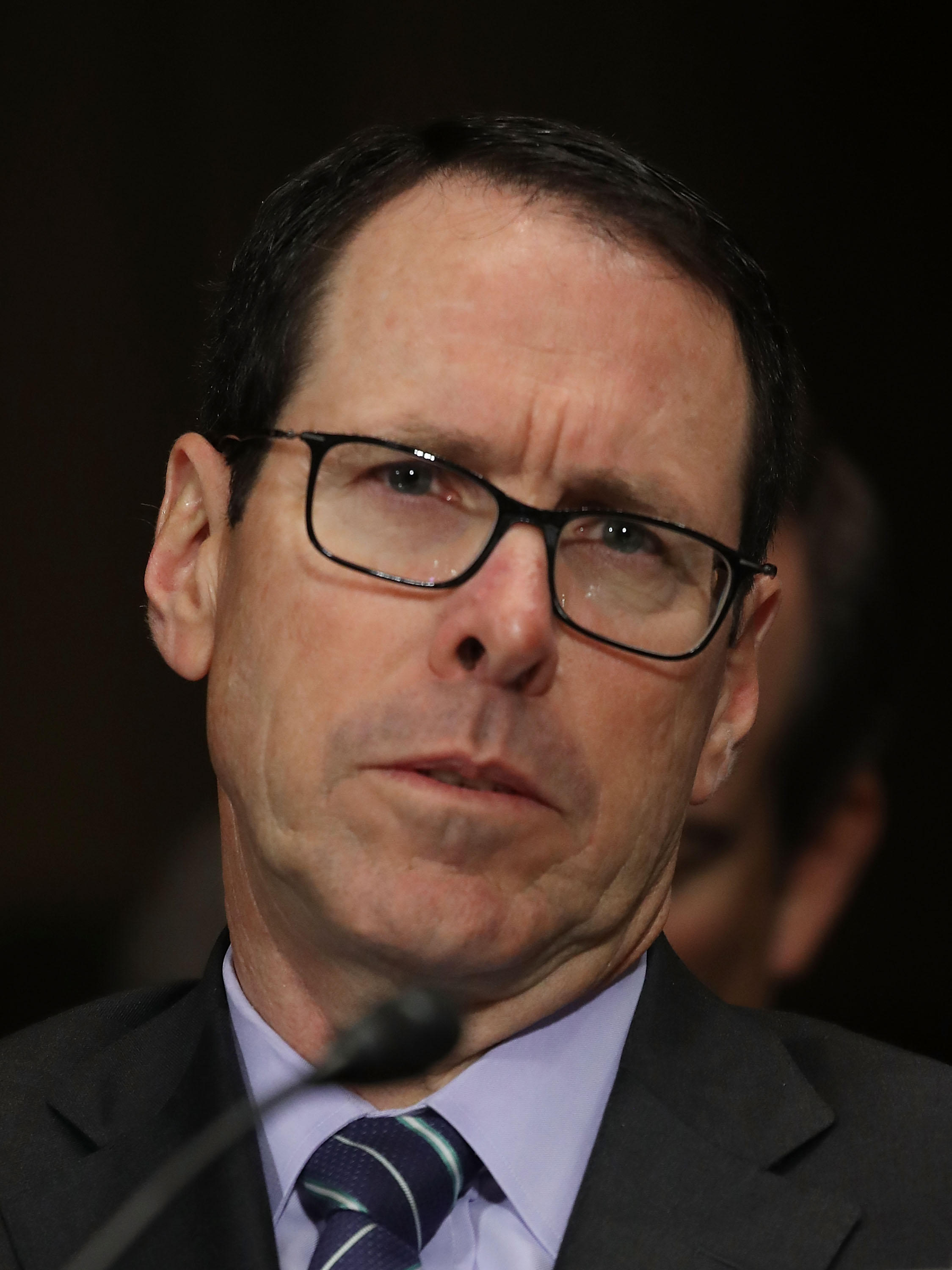 Randall Stephenson, CEO of AT&T, during a 2016 Senate Judiciary Subcommittee hearing. Stephenson was in federal court this week defending his company's merger with Time Warner.