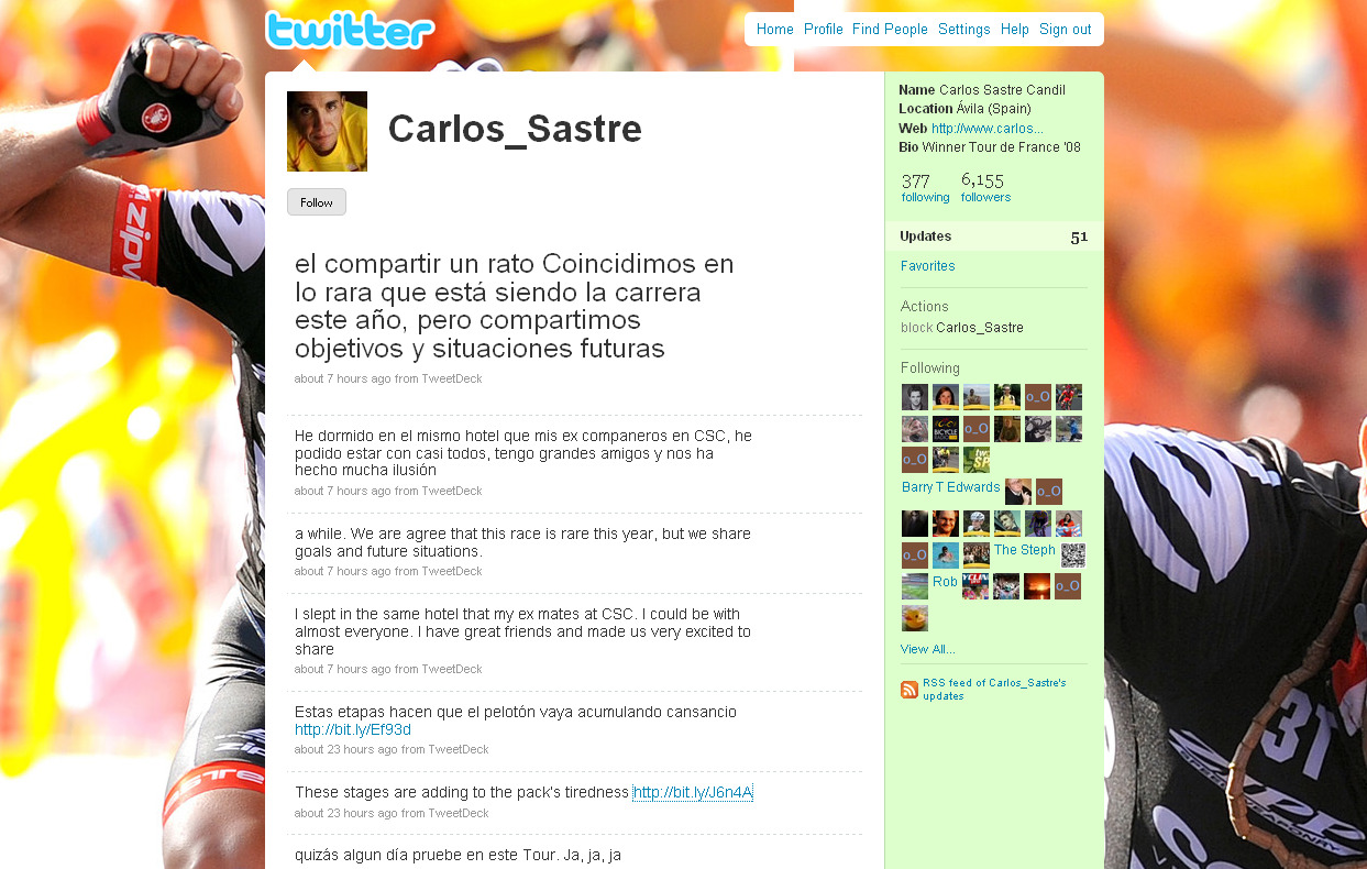 A screenshot taken from Carlos Sastre's Twitter account.