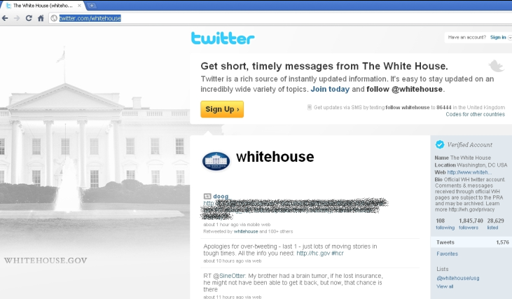 Among the many Twitter pages found to be spreading the worm was the Whitehouse.