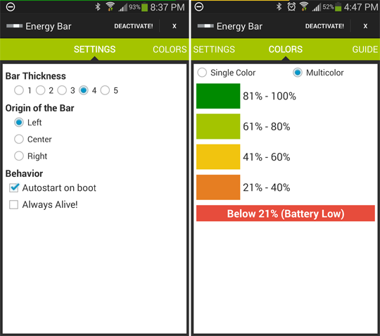Energy Bar for Android settings