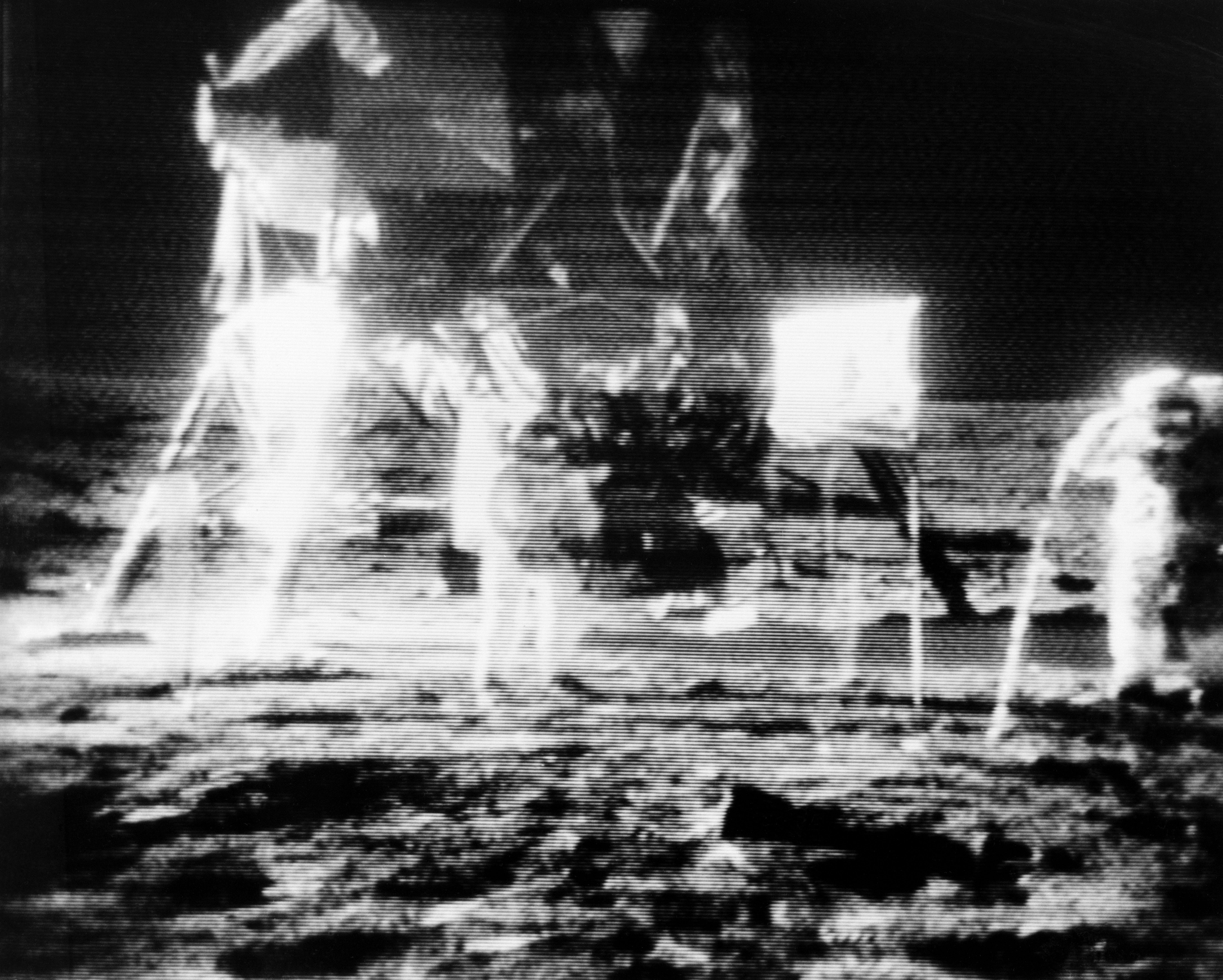 Televised image of Neil Armstrong and Buzz Aldrin on the moon