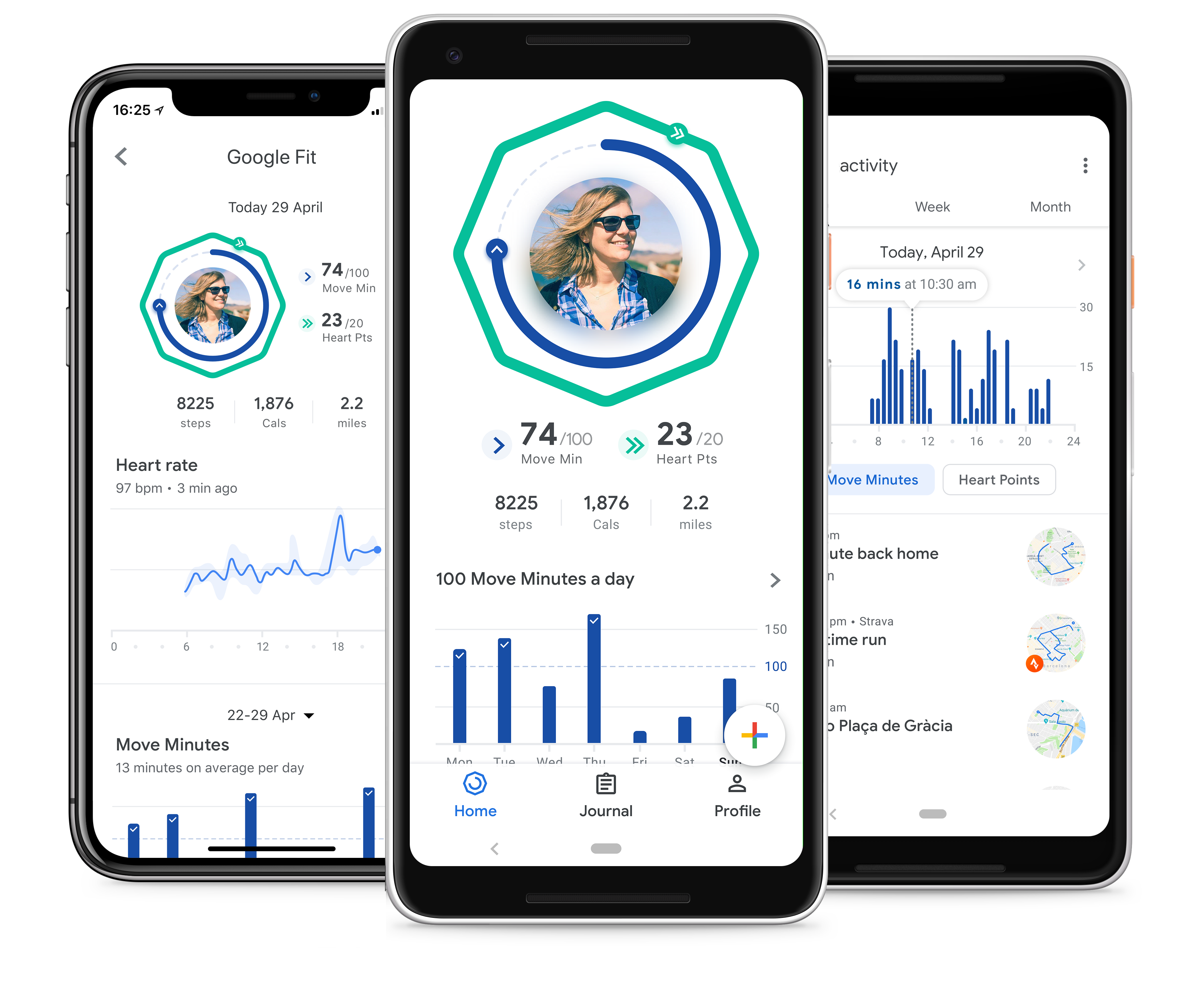 Google Fit screens showing Heart Points and Move Minutes features.