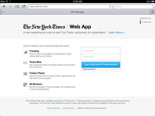 The new iPad Web app for the New York Times.