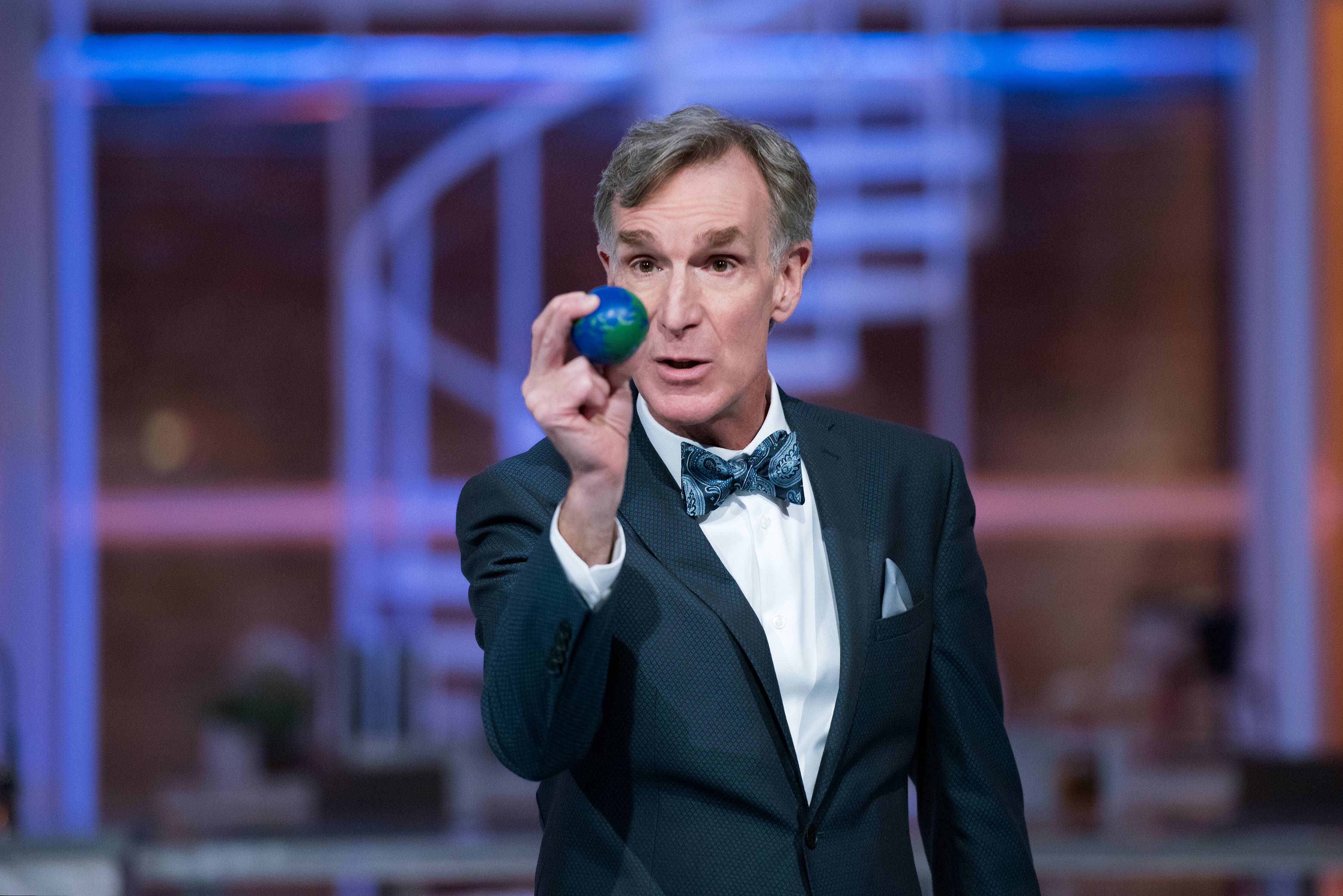 "Bill Nye on the set of his Netflix show ""Bill Nye Saves the World."""
