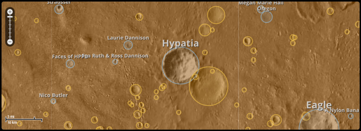 Uwingu is selling names to 500,000 classified but unnamed craters on Mars to raise funds for science education and research.