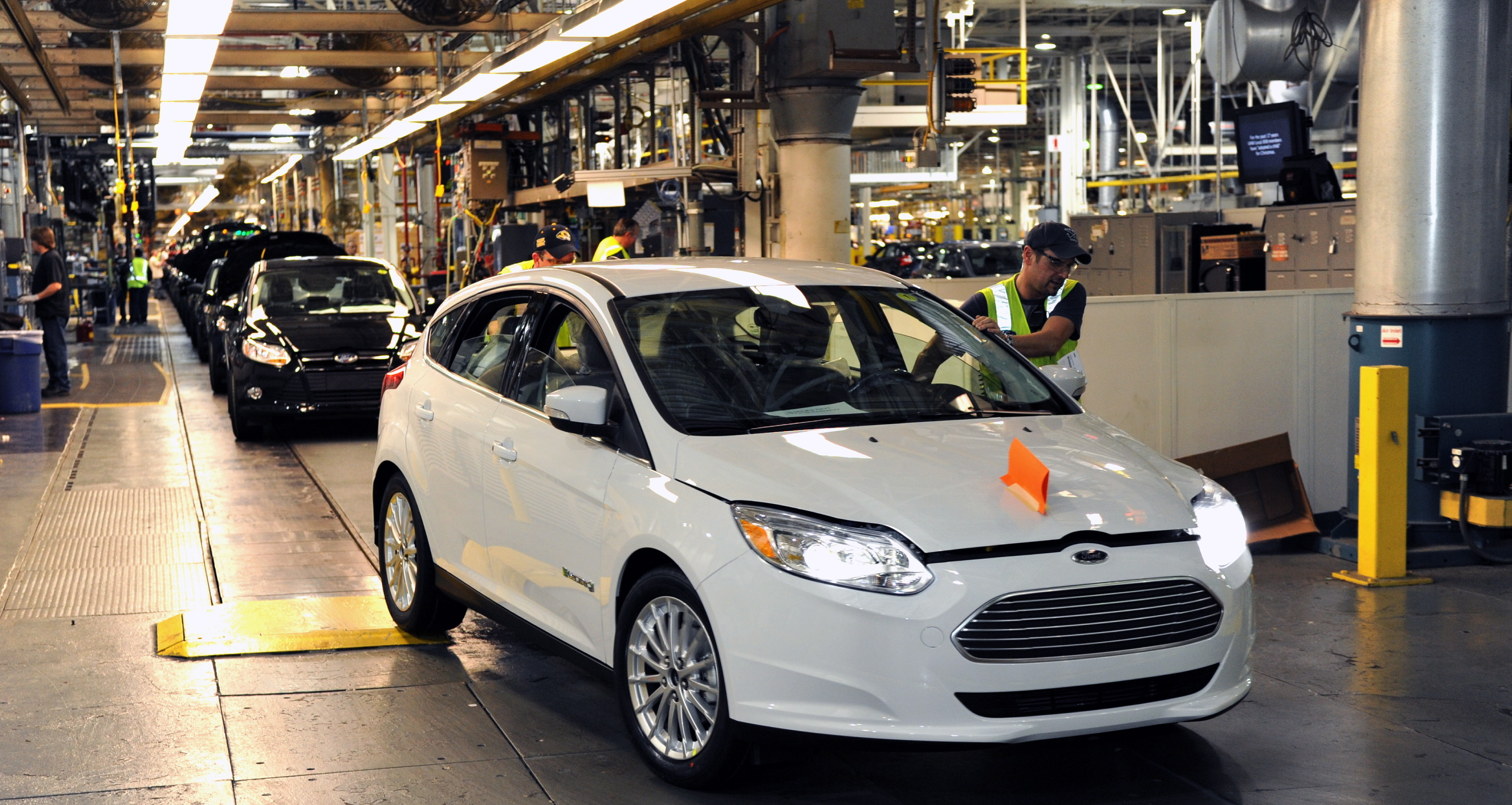 Here they come: Ford Focus Electric cars being manufactured in Michigan along with other models of the same size.