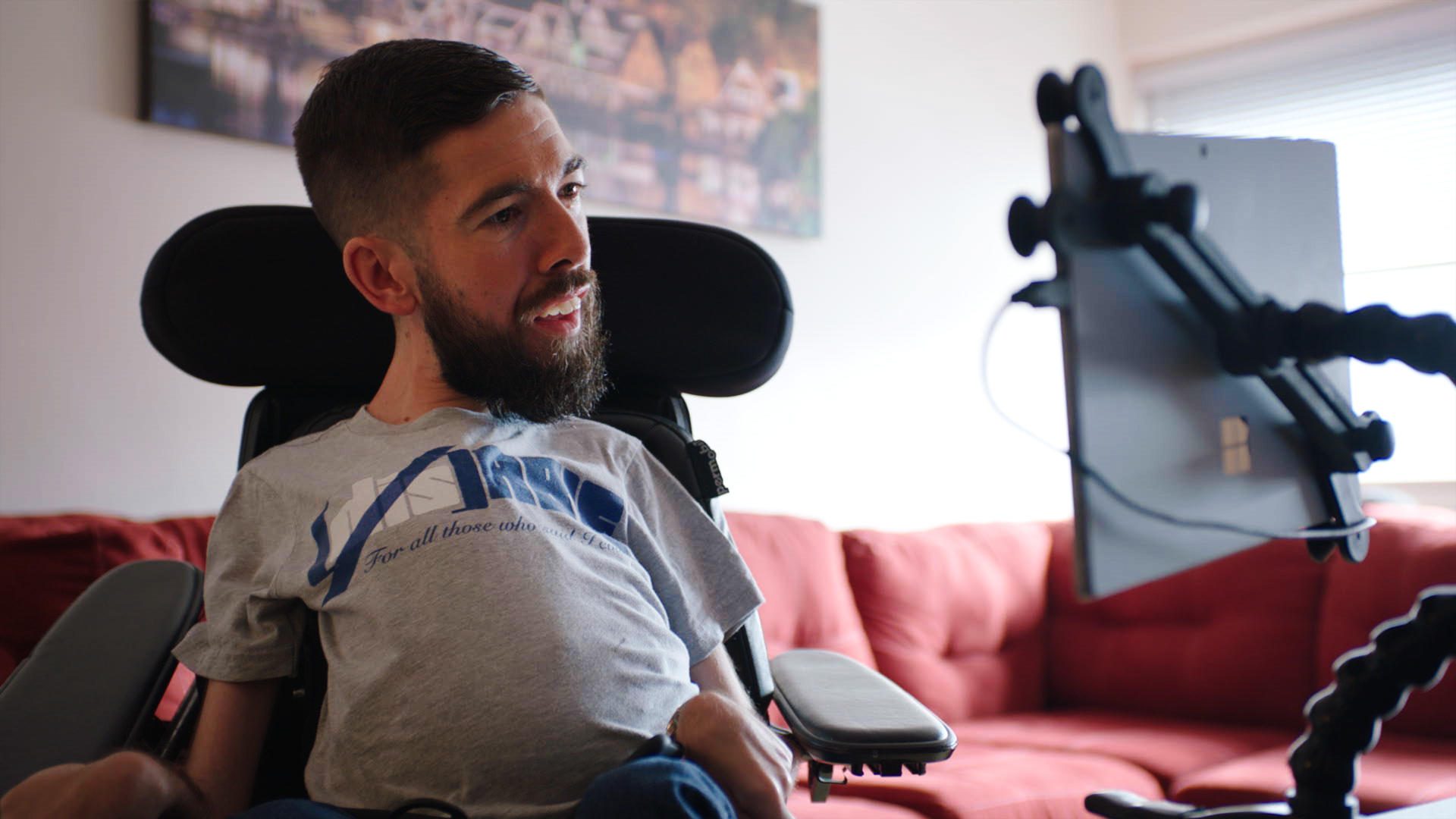 Jimmy Curran, who has spinal muscular atrophy, was one of the first to receive the new X1 eye control system.