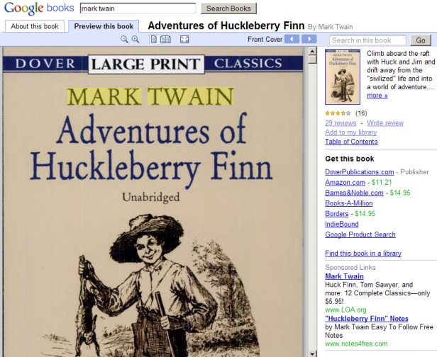 Google Book Search can show the content of books as well as links of places to buy it and advertisements.