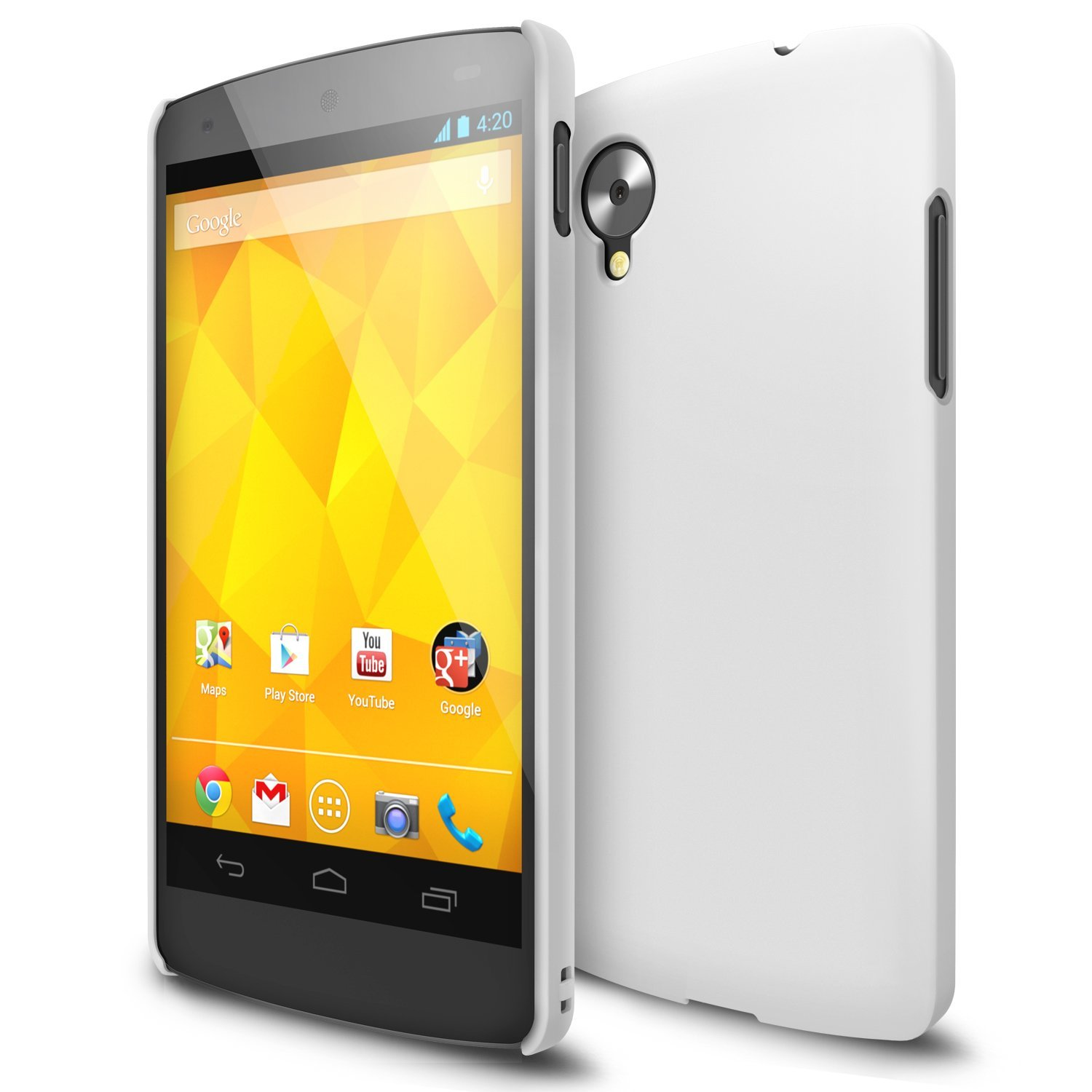 A white Ringke Slim case for the Google Nexus 5 phone, on sale at Amazon.