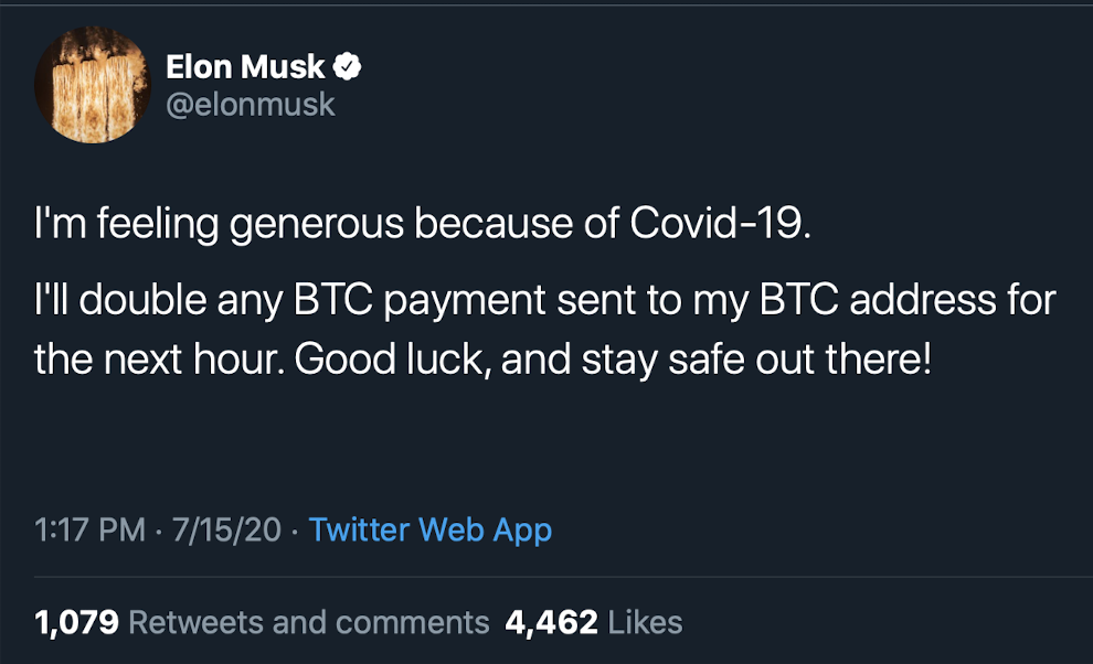 Screenshot of Elon Musk's Twitter feed with Bitcoin scam message