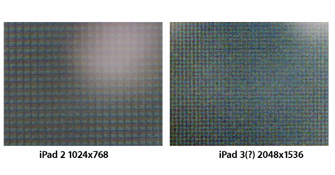 A crisper looking shot of the two displays under a microscope.