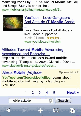Search ads on iPhone
