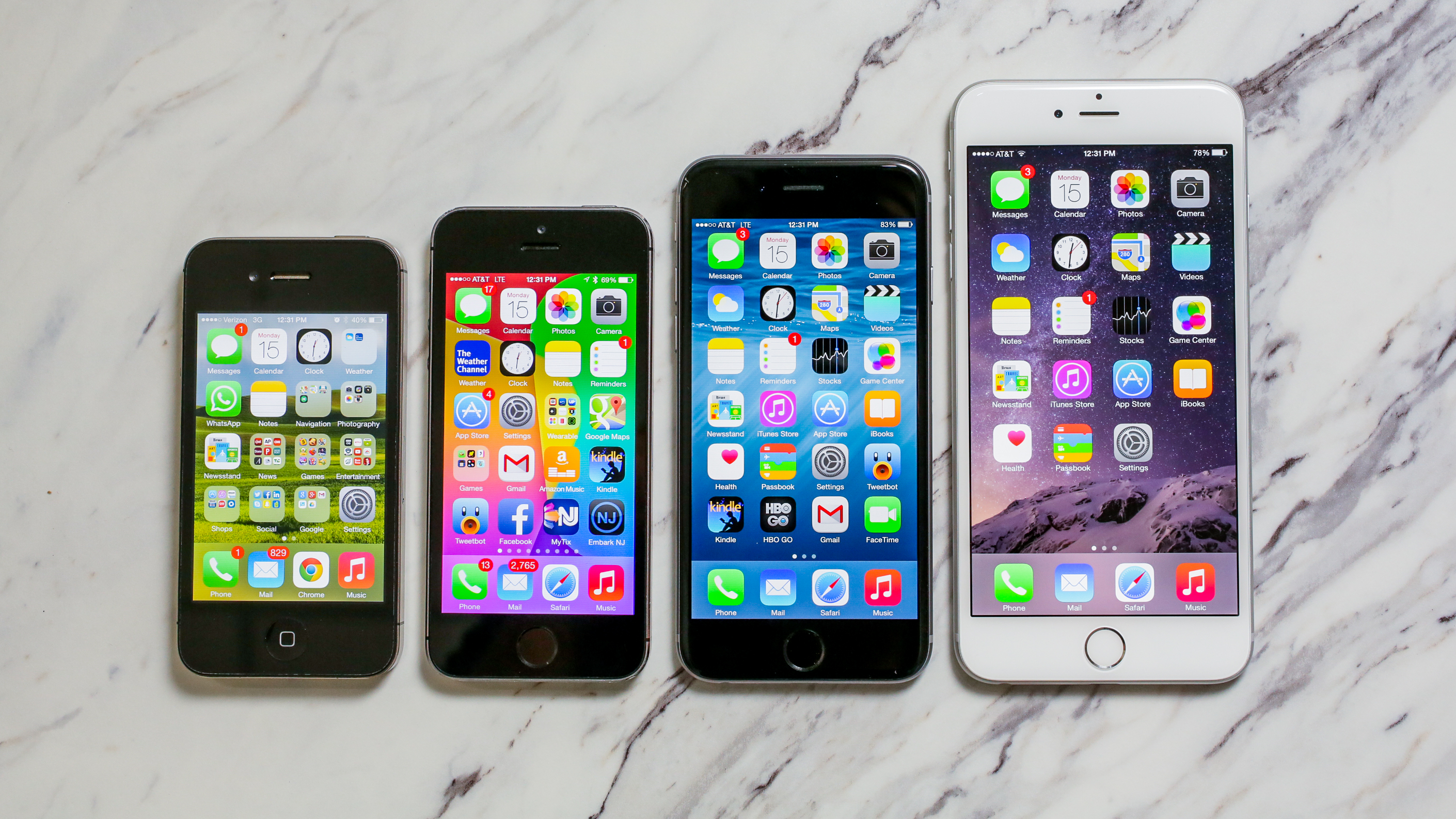 The entire iPhone family