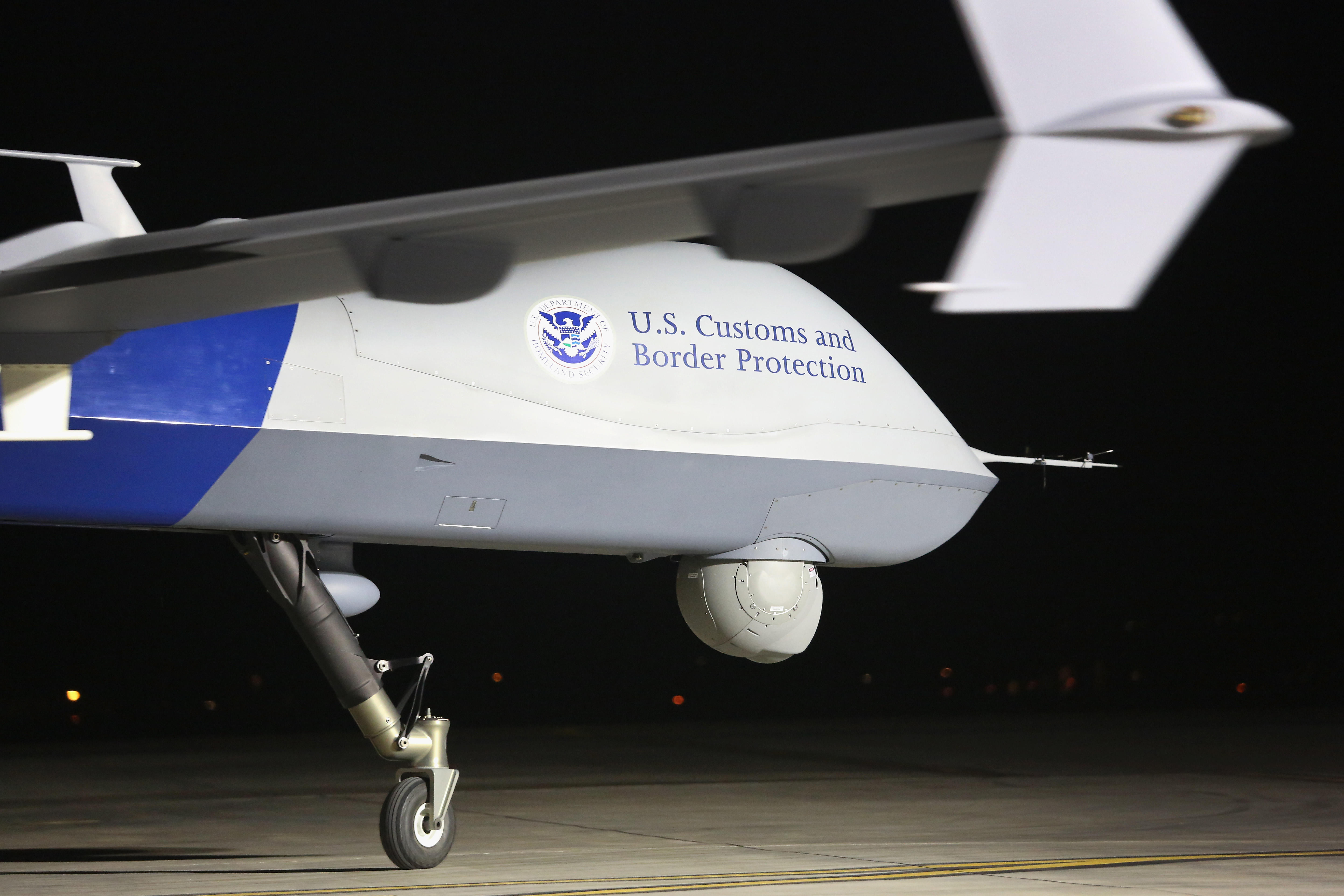 A Predator drone used by the US Customs and Border Protection agency for surveillance flights near the Mexican border.