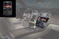 The RealVNC Connect and View infotainment system connected to a BlackBerry smartphone in a Jaguar XJ.