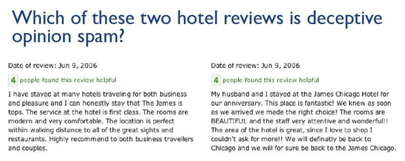 two hotel reviews: one fake, one real