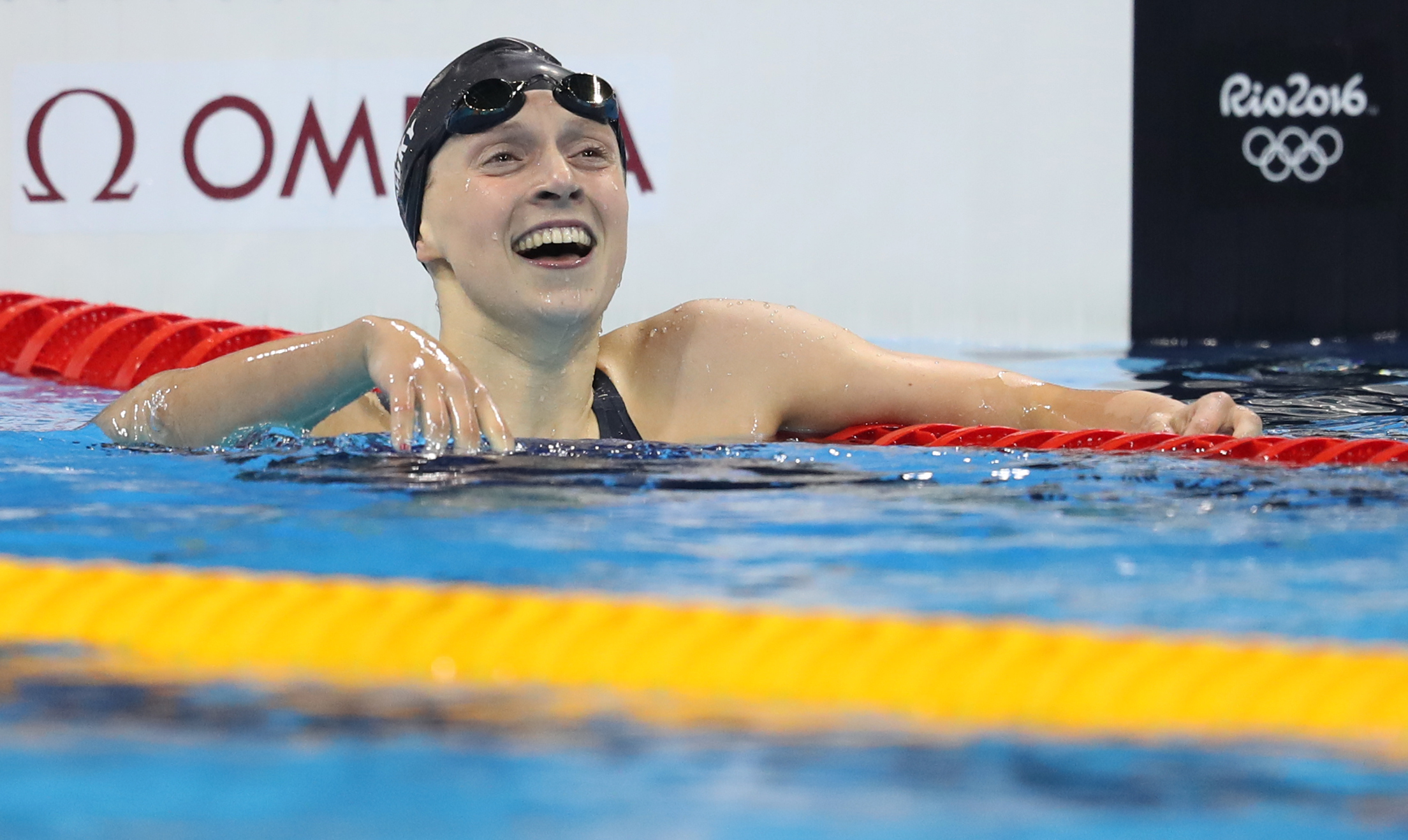 US Olympic swimmer Katie Ledecky celebrates winning a thrilling Women's 200m Freestyle final at the 2016 Summer Olympic Games in Rio de Janeiro, Brazil.