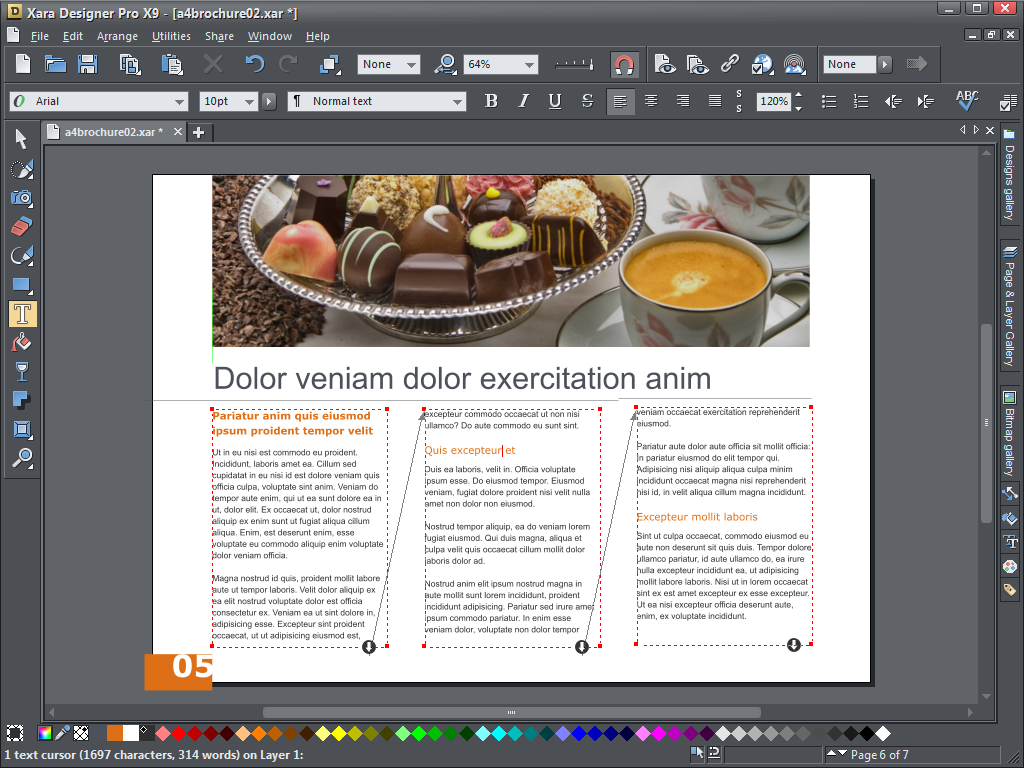 Text can be set to flow from one text box to another with Xara Design Pro X9's updated layout tools.