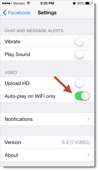 Facebook for iOS autoplay setting