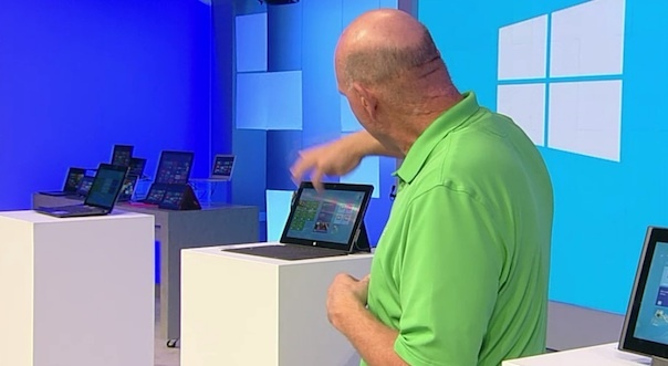 Microsoft CEO Steve Ballmer demonstrating the Surface tablet this week at the company's Build conference.