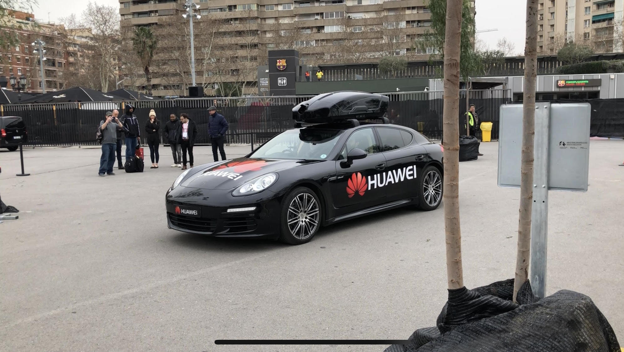 Porsche Panamera decked out in Huawei gear.