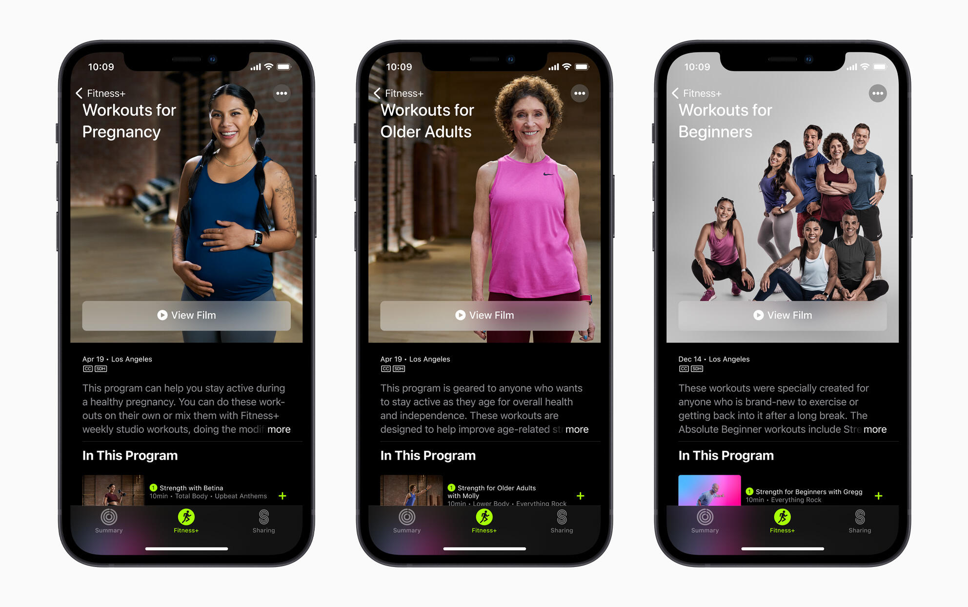 Apple Fitness Plus Workouts for pregnancy, older adults and beginners
